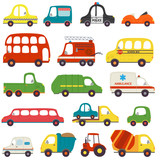 set of isolated transports -  vector illustration, eps