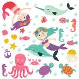 set of isolated mermaid with marine animals -  vector illustration, eps