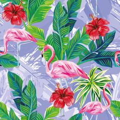 Pink flamingo leaves seamless blue background