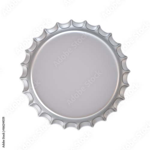 Blank metal bottle cap under the lid side isolated on white background . 3D rendering.
