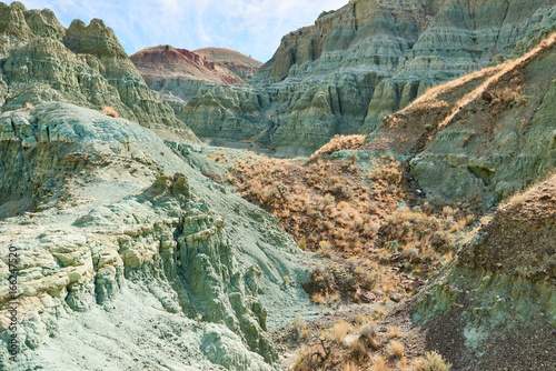 Poster Khaki Surrealistic landscape in John Day Fossil Beds National Monument Blue Basin area with grey-blue badlands. A branched ravine and Heavily eroded formations.