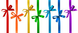 Vector set of decorative bows with vertical ribbon isolated on white. - 166249162