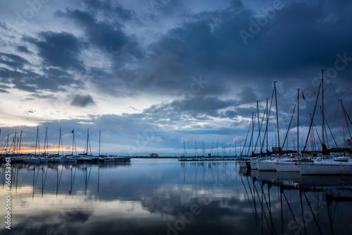 Dawn in marina Wilkasy above lake Niegocin near Gizycko, Masuria, Poland Poster