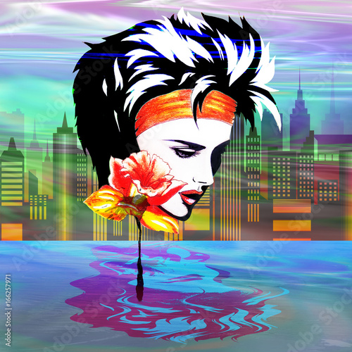 Deurstickers Draw Metropolis Nostalgia Vaporwave Art