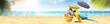 Papagei als Paradiesvogel am Strand freigestellt - Urlaub Konzept