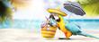 Leinwanddruck Bild - Papagei als Paradiesvogel am Strand - Urlaub Konzept