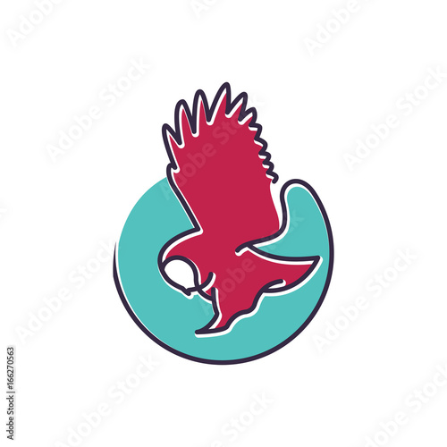 Foto op Aluminium Uilen cartoon Owl Bird Pouncing on Prey Cool Logo Illustration