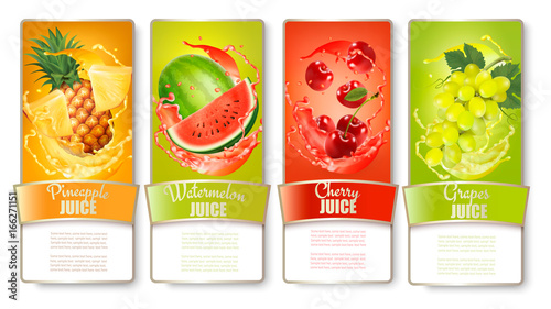 Set of labels of of fruit in juice splashes. Pineapple, watermelon, cherry, grapes. Vector.