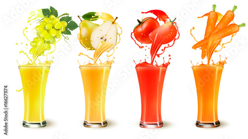 Set of fruit juice splash in a glass. Grapes, pear, carrot and tomato. Vector