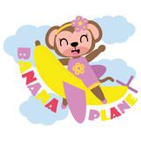 Cute dziewczynka małpa leci z banana płaszczyzny wektorowe cartoon ilustracji dla projektu kid t shirt, przedszkole ściany i tapetę