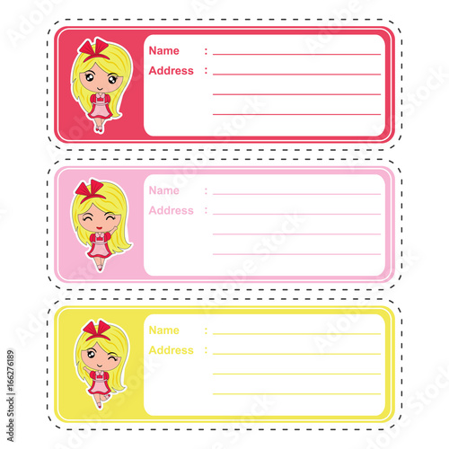 address label vector cartoon with cute girl on colorful background