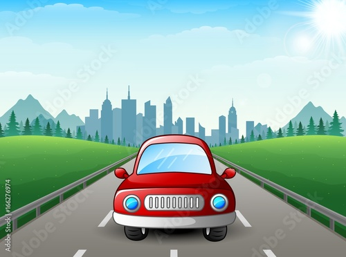 Red car cartoon on city background