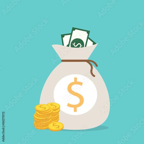 Money saving and money bag icon design, vector illustration