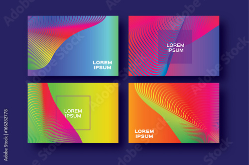 Set of 4 Trendy Colorful Gradient Future Geometric Shapes Covers template. Minimal gorizontal geometry halftone design for banners, flyers, invitation, posters, brochure, voucher discount. Vector © mash3r