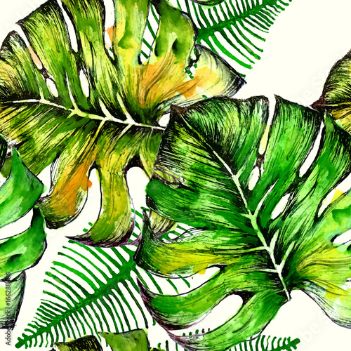 Watercolor tropical palm leaves seamless pattern. Vector illustration. - 166288306