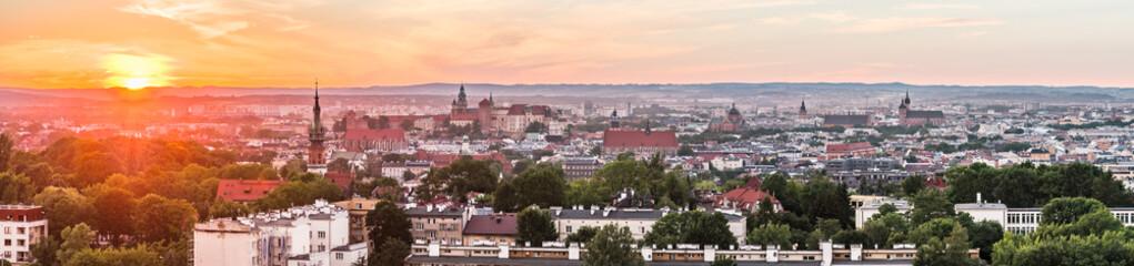 Panorama miata Kraków z kopca Krakusa