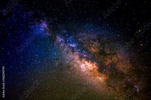 Milky way galaxy with stars and space dust in the universe.