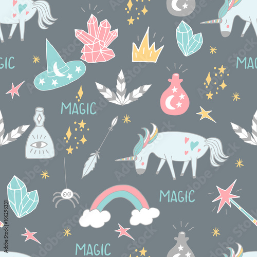 Materiał do szycia Cute hand drawn cartoon seamless pattern with unicorns, crystals and other magic elements. Vector background