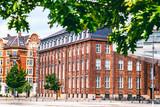 City landscape, Copenhagen, bright facades of buildings.