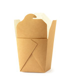 Paper box for food. Craft  packaging for fastfood. Cardboard container for lunch, chinese food, noodles, snacks  isolated on white background with clipping path. - 166300368