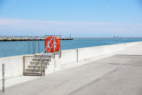 Dock at the port with security equipment