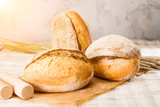 still life with a traditional round artisan wheat bread loaves on light background in rays of the sun, shallow dof