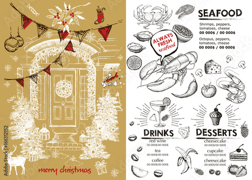 Christmas restaurant brochure, menu template.