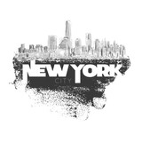 New York, vector monochrome drawing in grunge banner on white - 166312589