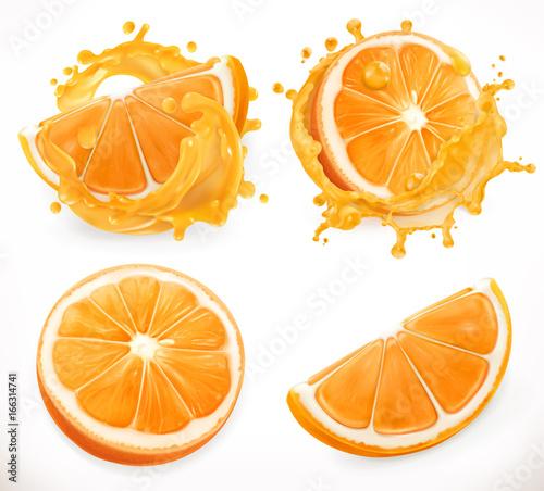 Sok pomarańczowy. Świeże owoce i odpryskami. 3d realizm, zestaw ikon wektorowych