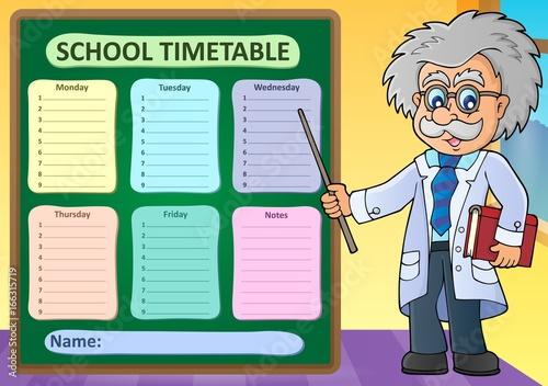 Tuinposter Voor kinderen Weekly school timetable design 1