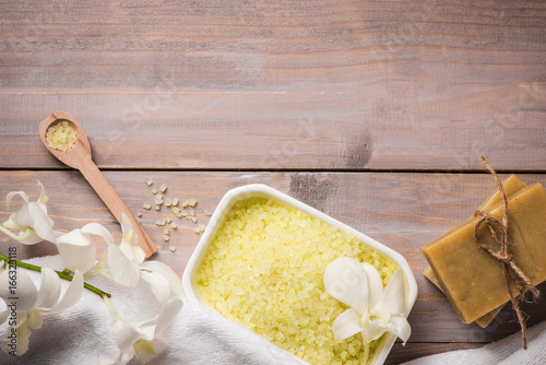 Spa set. Handmade, natural organic soap and white orchid on a wooden background