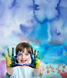 little girl painting her happy picture - 166330168