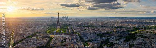 Skyline of Paris with Eiffel Tower in Paris, France - 166332997