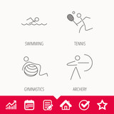Swimming, tennis and gymnastics icons. Archery linear sign. Edit document, Calendar and Graph chart signs. Star, Check and House web icons. Vector