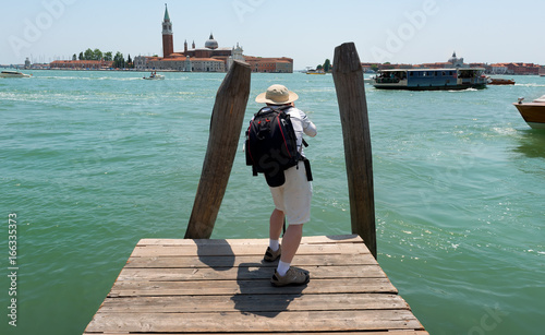 Spoed canvasdoek 2cm dik Venetie Tourist in Venice
