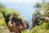Closeup view of bay in Costa Brava, Catalonia. Miniature tilt shift lens effect
