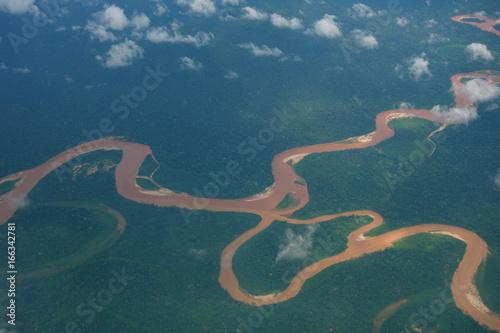 Amazonas und Regenwald Luftaufnahme