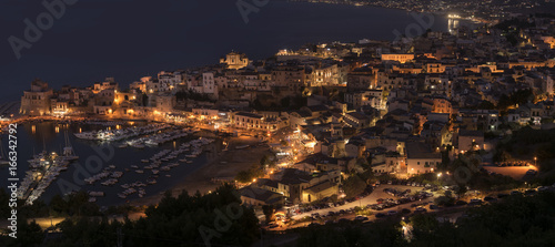 Panoramic view of Castellamare del Golfo in Sicily by night