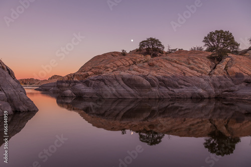Willow Lake Moonrise Reflection