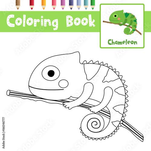 Kolorowanki z Chameleon na gałęzi zwierząt dla dzieci w wieku szkolnym edukacyjnych arkusz roboczy. Ilustracja wektorowa.