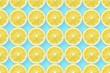 lemon slices on blue