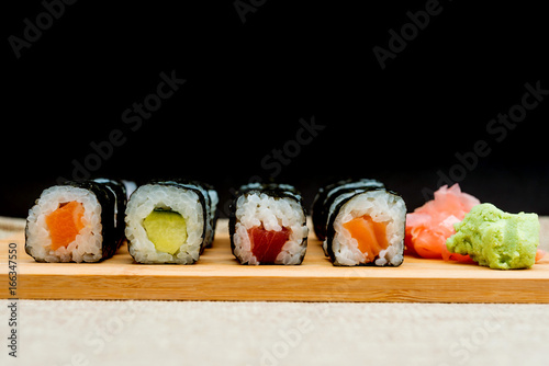 Japanese food Sushi Roll Maki of Salmon and avocado