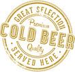 Vintage Cold Beer Stamp Sign