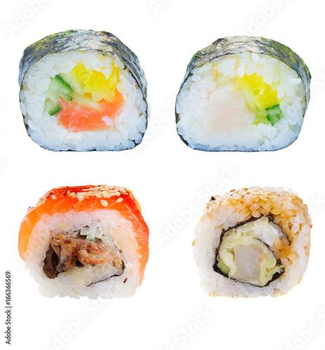 Set of four japanese sushi rolls isolated on white background