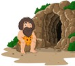 Cartoon caveman sitting with cave background - 166367992