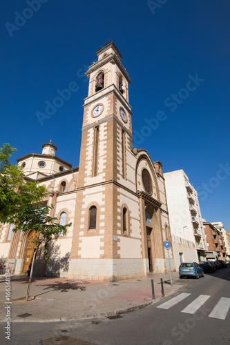 facade landmark of catholic church of St Peter Parish, in Grao of Castellon city, Valencia, Spain Europe