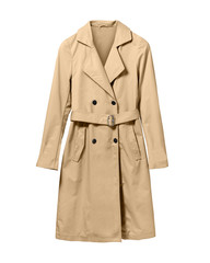 Beige elegant woman autumn coat isolated white