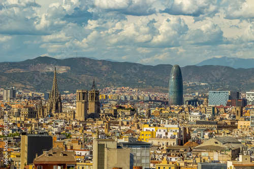 Aerial view of Barcelona city Spain.