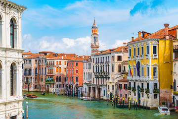 Grand Canal, Venice, Italy. Bright and colorful colors.