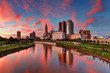 Evening Columbus Ohio skyline along the Scioto River at dusk